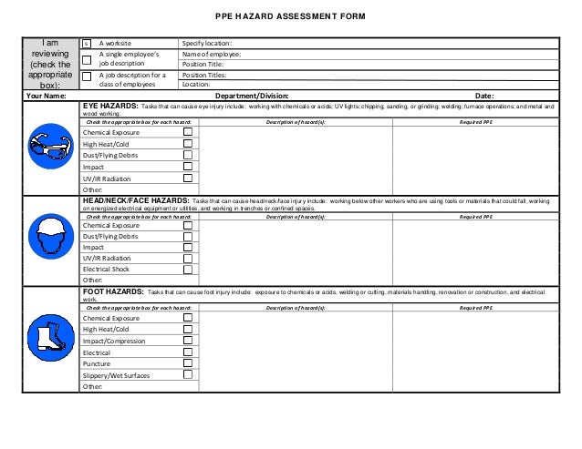 Ppe hazard assessment form for Workplace hazard assessment template