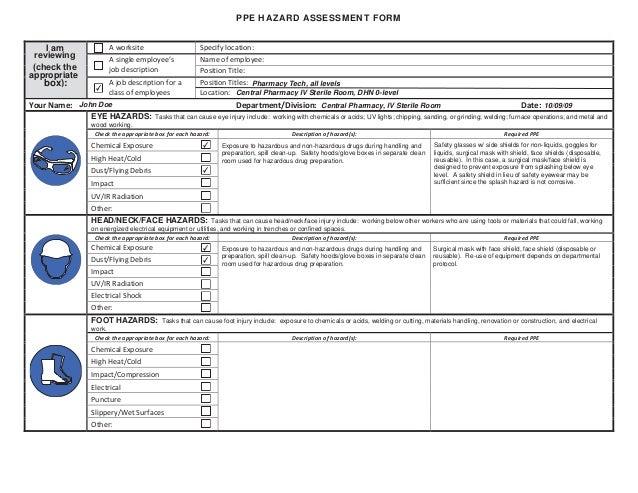 ppe hazard assessment form. Black Bedroom Furniture Sets. Home Design Ideas