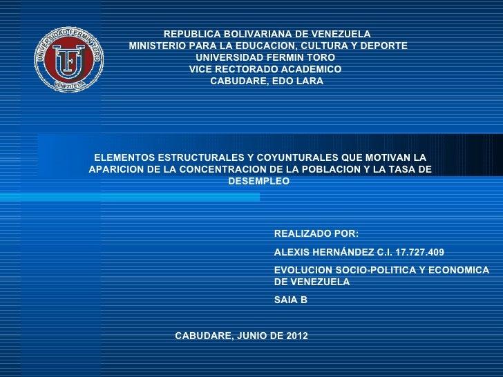 REPUBLICA BOLIVARIANA DE VENEZUELA      MINISTERIO PARA LA EDUCACION, CULTURA Y DEPORTE                  UNIVERSIDAD FERMI...