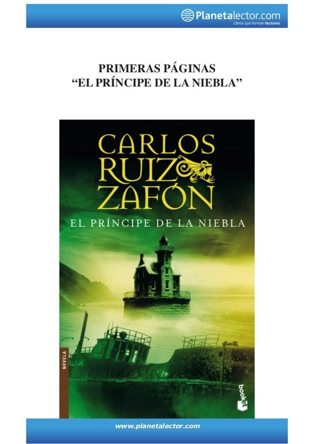 """www.planetalector.com PRIMERAS PÁGINAS """"el PRÍNCIPE DE LA NIEBLA"""""""