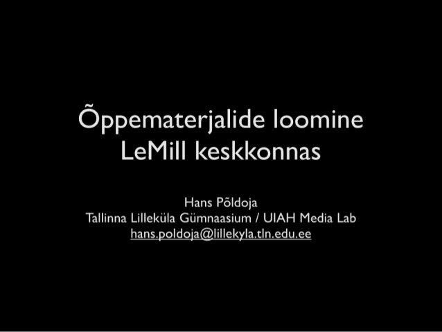 Õppematerjalide loomine LeMill keskkonnas