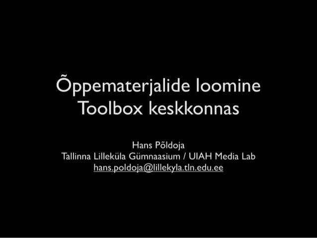 Õppematerjalide loomine Toolbox keskkonnas