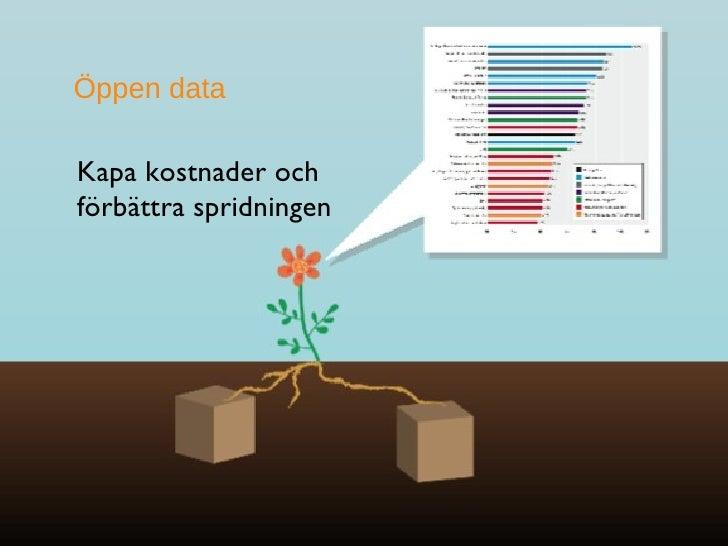 <ul><li>Kapa kostnader och förbättra spridningen </li></ul>Öppen data