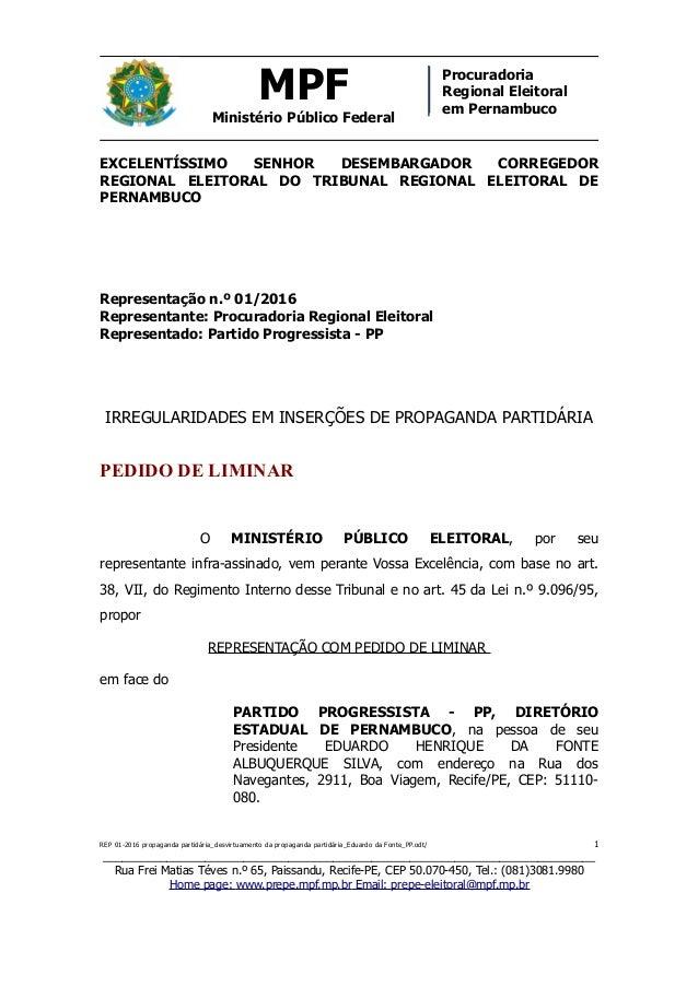 MPF Ministério Público Federal Procuradoria Regional Eleitoral em Pernambuco EXCELENTÍSSIMO SENHOR DESEMBARGADOR CORREGEDO...