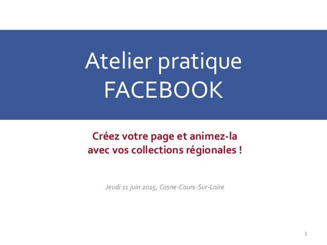 Atelier pratique FACEBOOK Créez votre page et animez-la avec vos collections régionales ! Jeudi 11 juin 2015, Cosne-Cours-...