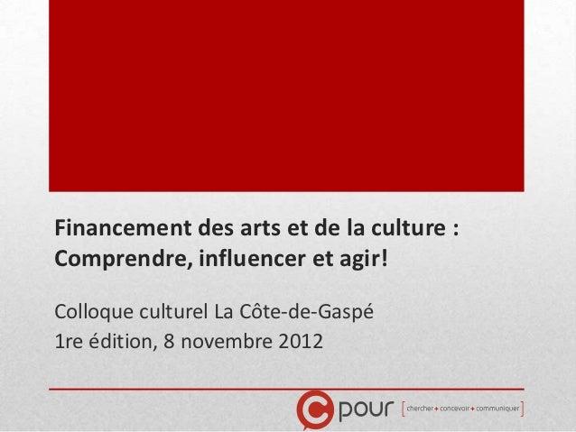 Financement des arts et de la culture :Comprendre, influencer et agir!Colloque culturel La Côte-de-Gaspé1re édition, 8 nov...