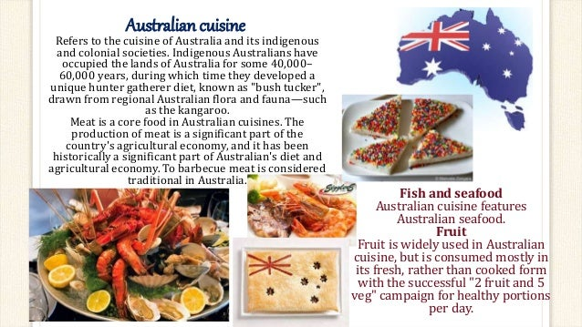 Food around the world english project for Australian food cuisine