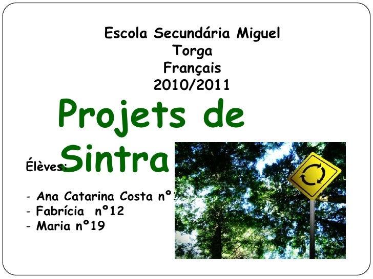 Escola Secundária Miguel Torga<br />Français<br />2010/2011<br />Projets de Sintra<br />Élèves:<br /><ul><li> Ana Catarina...