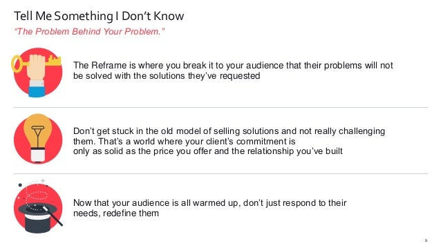 """""""The Problem Behind Your Problem."""" 9 Tell Me Something I Don't Know The Reframe is where you break it to your audience tha..."""
