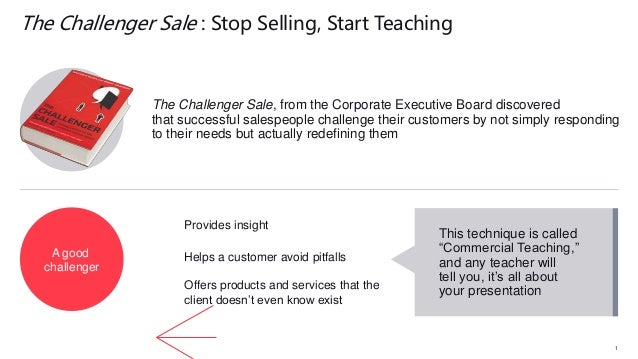 The Challenger Sale, from the Corporate Executive Board discovered that successful salespeople challenge their customers b...