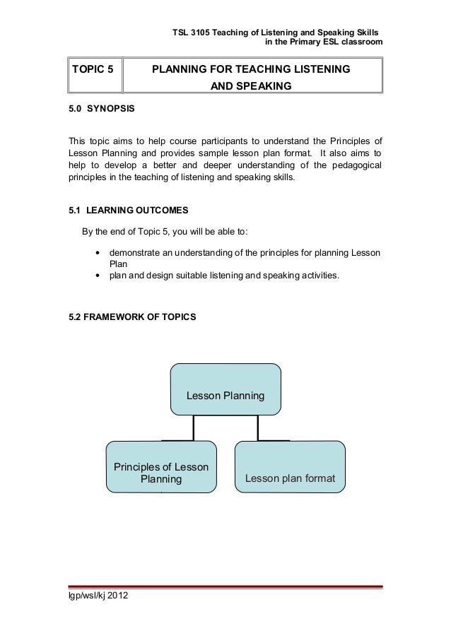 TSL 3105 Teaching of Listening and Speaking Skills in the Primary ESL classroom TOPIC 5 PLANNING FOR TEACHING LISTENING AN...