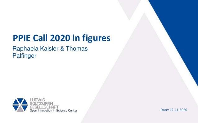 PPIE Call 2020 in figures Date: 12.11.2020 Raphaela Kaisler & Thomas Palfinger