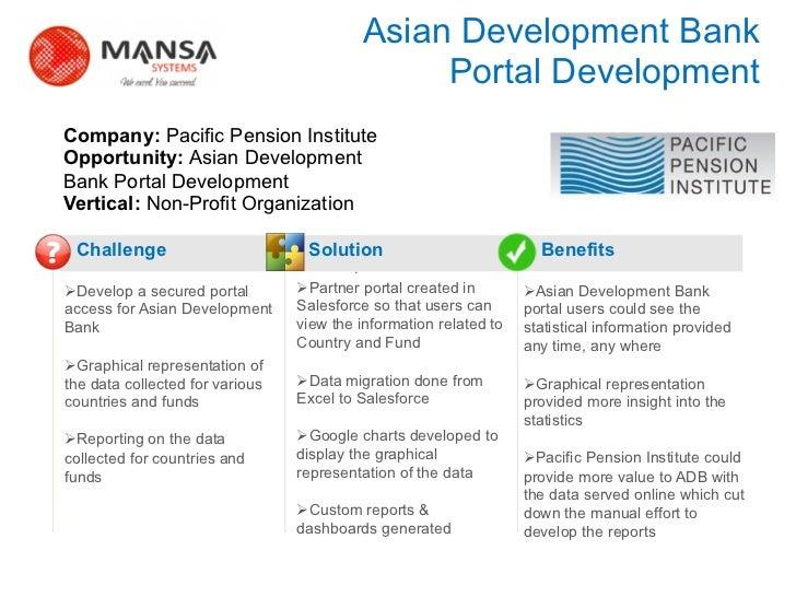 Asian Development Bank                                                      Portal Development    Company: Pacific Pension...