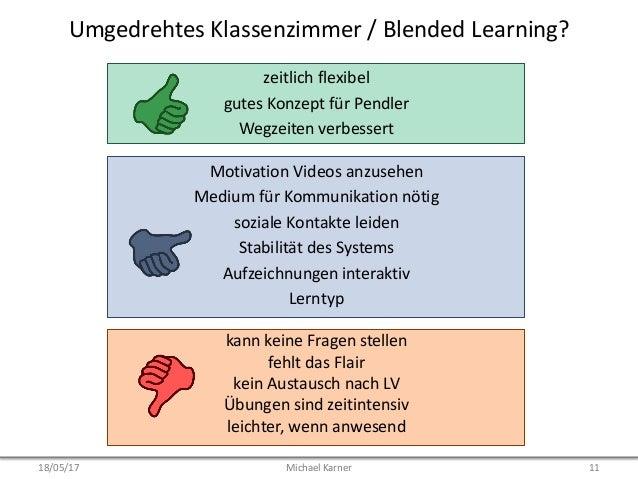 Umgedrehtes Klassenzimmer / Blended Learning? Motivation Videos anzusehen Medium für Kommunikation nötig soziale Kontakte ...