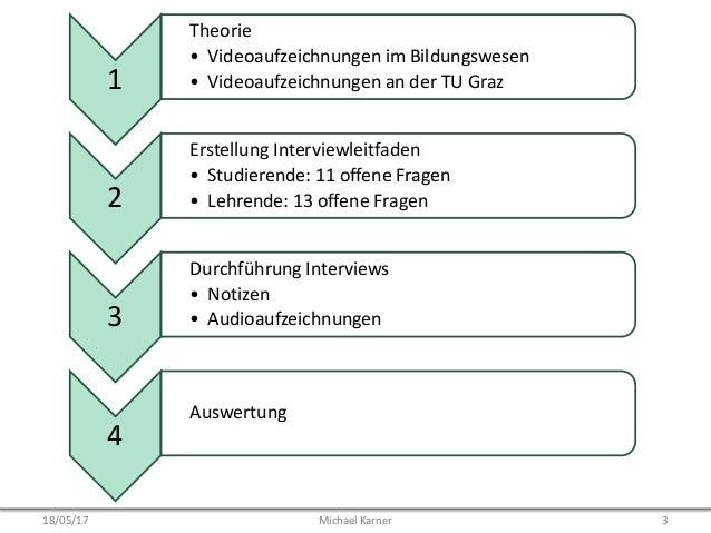 1 • Theorie • Videoaufzeichnungen im Bildungswesen • Videoaufzeichnungen an der TU Graz 2 • Erstellung Interviewleitfaden ...