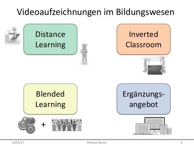 Videoaufzeichnungen im Bildungswesen Distance Learning Blended Learning Inverted Classroom Ergänzungs- angebot + 18/05/17 ...