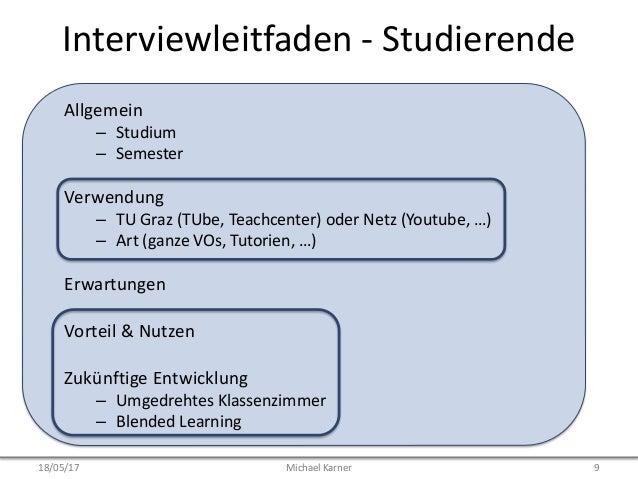 Interviewleitfaden - Studierende Allgemein – Studium – Semester Verwendung – TU Graz (TUbe, Teachcenter) oder Netz (Youtub...
