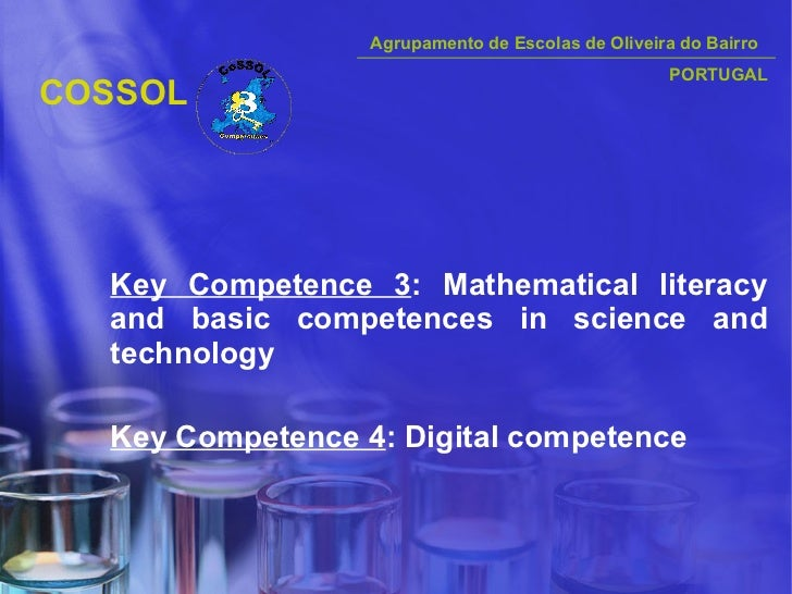 COSSOL <ul><li>Key Competence 3 : Mathematical literacy and basic competences in science and technology </li></ul><ul><li>...