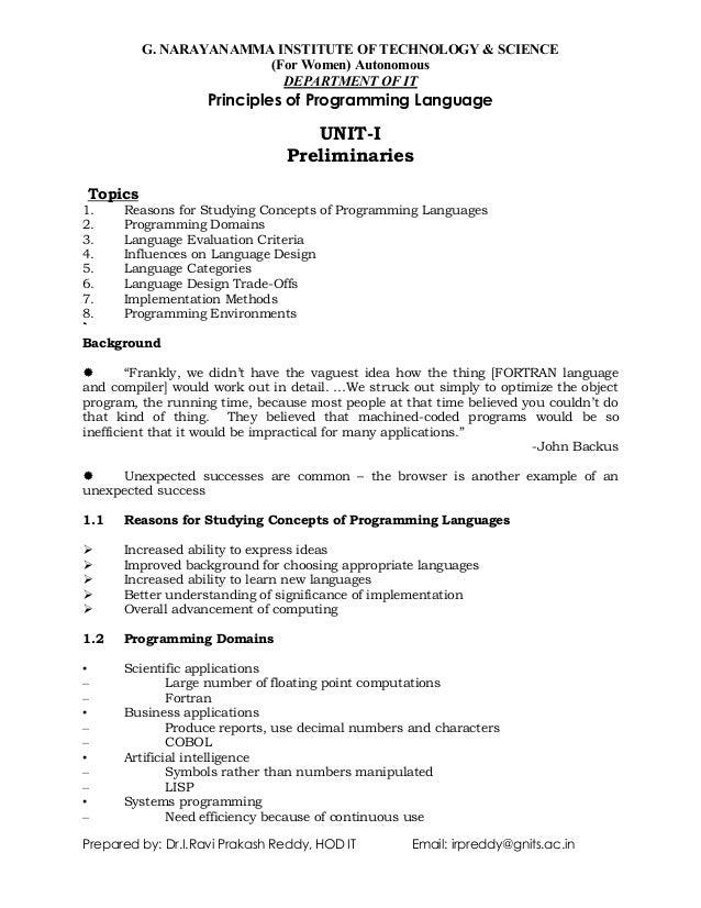 Principles of programming languages  Detail notes