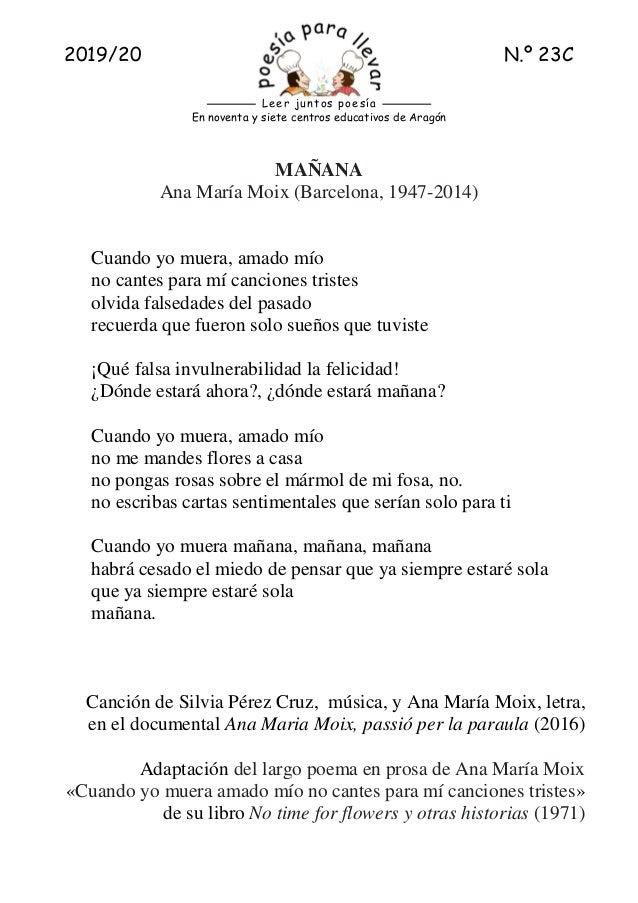 2019/20 N.� 23C En noventa y siete centros educativos de Arag�n Leer juntos poes�a MA�ANA Ana Mar�a Moix (Barcelona, 1947-...