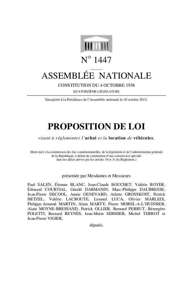 N° 1447 _____  ASSEMBLÉE NATIONALE CONSTITUTION DU 4 OCTOBRE 1958 QUATORZIÈME LÉGISLATURE  Enregistré à la Présidence de l...
