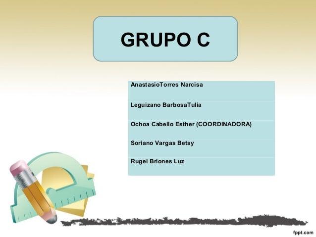 GRUPO C AnastasioTorres Narcisa Leguizano BarbosaTulia Ochoa Cabello Esther (COORDINADORA) Soriano Vargas Betsy Rugel Brio...