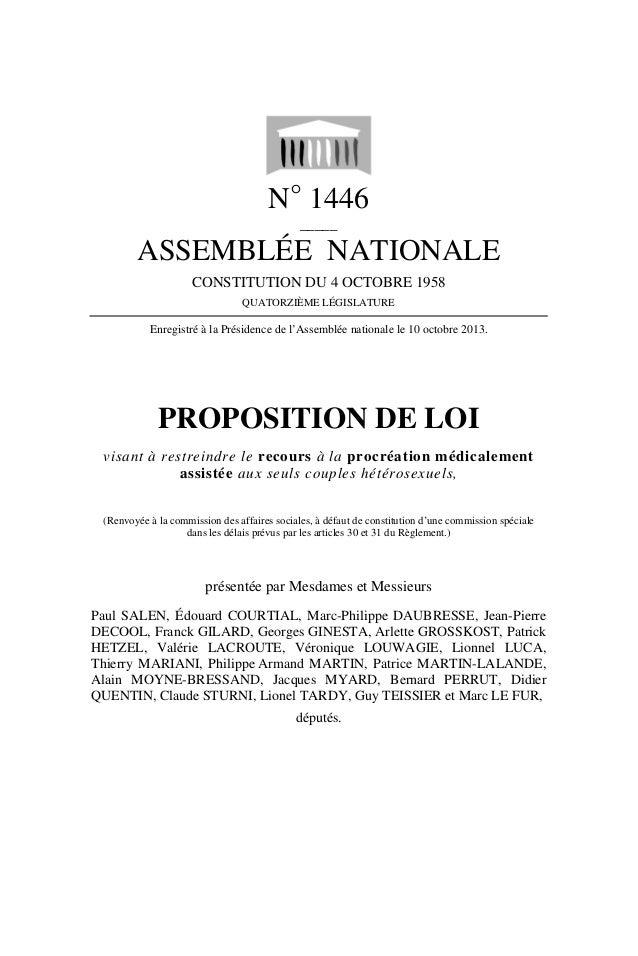 N° 1446 _____  ASSEMBLÉE NATIONALE CONSTITUTION DU 4 OCTOBRE 1958 QUATORZIÈME LÉGISLATURE  Enregistré à la Présidence de l...