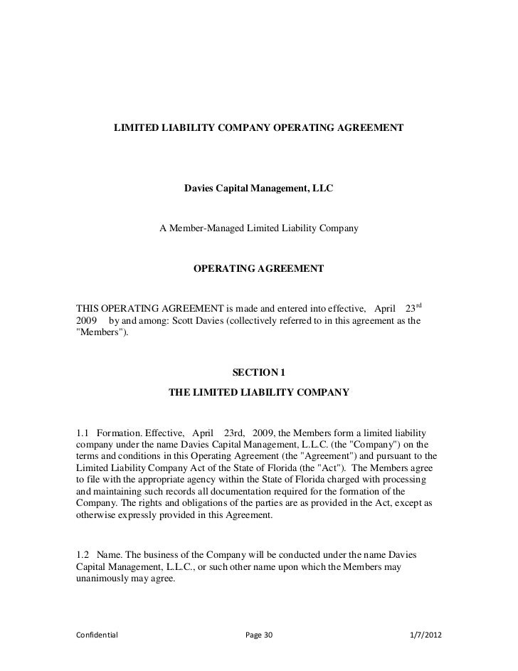 PPM - Husband and wife llc operating agreement template