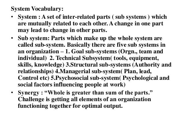 systems and sub systems inter relationships The study of the global international system (macro) represent one important  analytic division in the field of international relations  the purpose of this special .