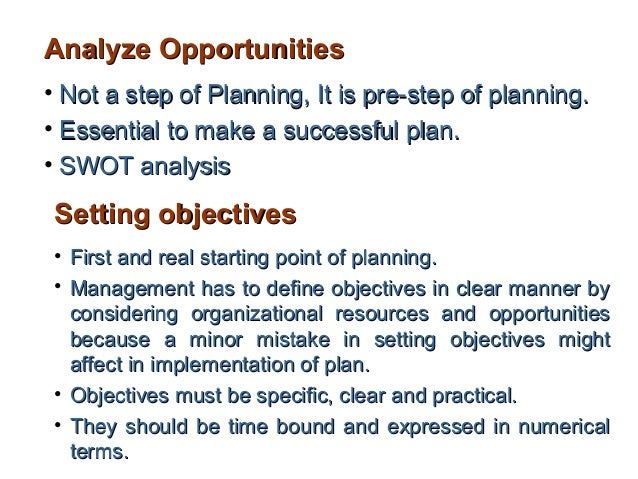 Analyze Opportunities• Not a step of Planning, It is pre-step of planning.• Essential to make a successful plan.• SWOT ana...