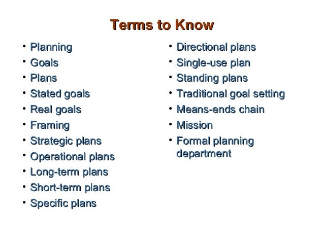 Terms to Know•   Planning              •   Directional plans•   Goals                 •   Single-use plan•   Plans        ...