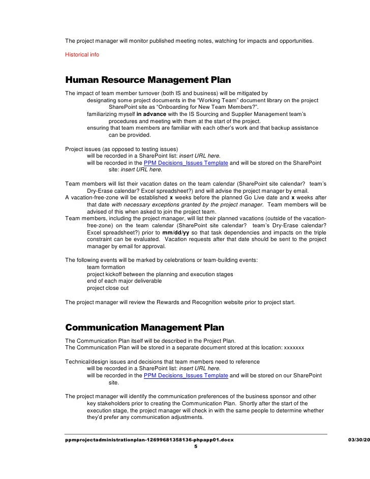 Ppm Project Administration Plan