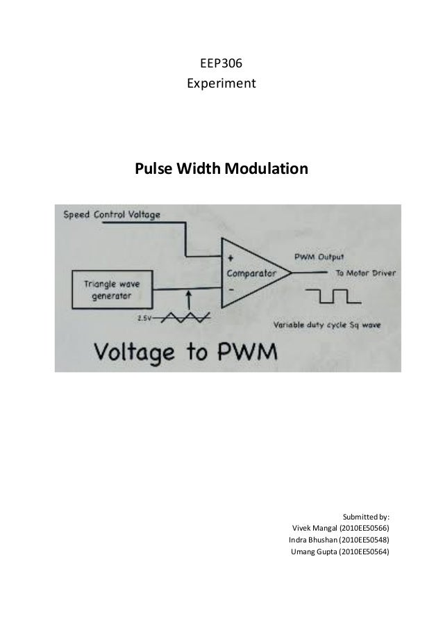 EEP306 Experiment Pulse Width Modulation Submitted by: Vivek Mangal (2010EE50566) Indra Bhushan (2010EE50548) Umang Gupta ...