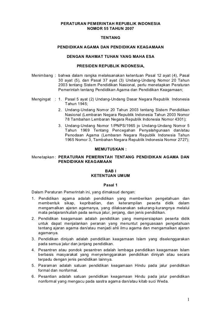PP no.55 th.2007 pend agama dan pend keagamaan