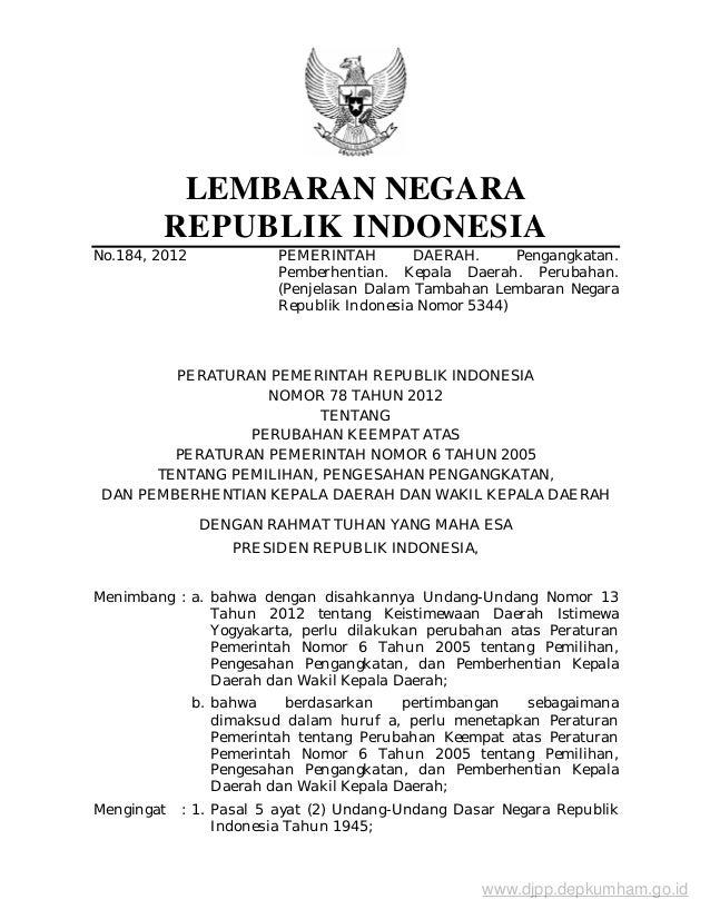 LEMBARAN NEGARA         REPUBLIK INDONESIANo.184, 2012              PEMERINTAH        DAERAH.      Pengangkatan.          ...
