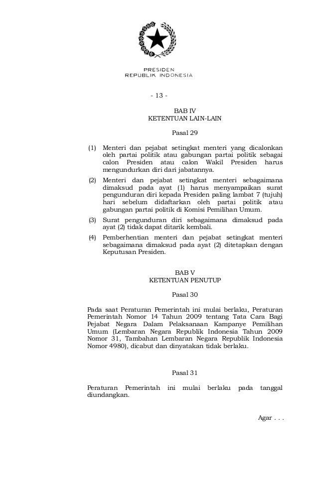 Peraturan Pemerintah Nomor 18 Tahun 2013 Tentang Tata Cara Pengundura
