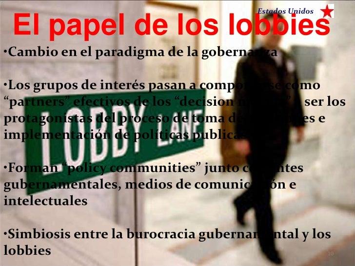 Estados Unidos El papel de los lobbies•Cambio en el paradigma de la gobernanza•Los grupos de interés pasan a comportarse c...