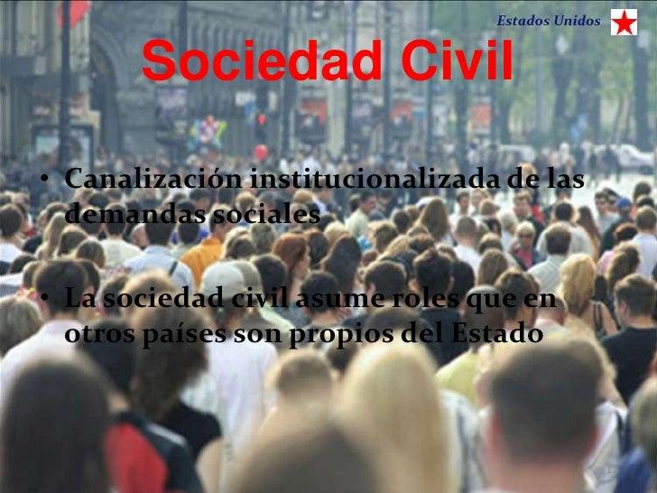 Estados Unidos       Sociedad Civil• Canalización institucionalizada de las  demandas sociales• La sociedad civil asume ro...