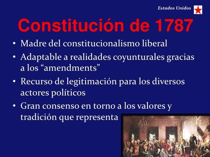 Estados Unidos Constitución de 1787• Madre del constitucionalismo liberal• Adaptable a realidades coyunturales gracias  a ...