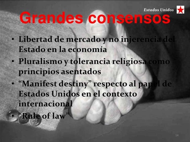 Estados Unidos Grandes consensos• Libertad de mercado y no injerencia del  Estado en la economía• Pluralismo y tolerancia ...