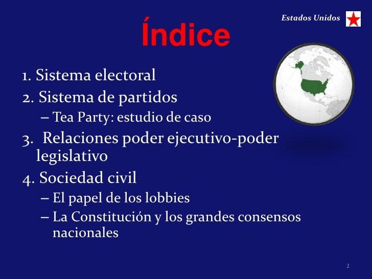 Estados Unidos                  Índice1. Sistema electoral2. Sistema de partidos  – Tea Party: estudio de caso3. Relacione...