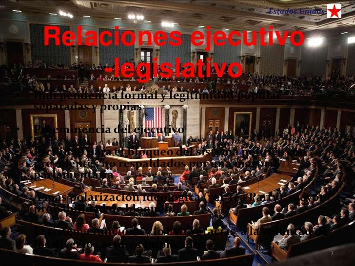 Estados Unidos     Relaciones ejecutivo         -legislativo•   Independencia formal y legitimidad popular    separadas y ...