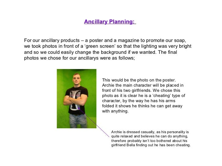 Ancillary Planning:   For our ancillary products – a poster and a magazine to promote our soap, we took photos in front of...