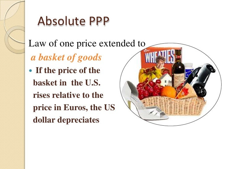 law of one price and purchasing power parity analysis Jel classification: f31 keywords: law of one price purchasing power parity real exchange rate in this study we provide a discussion of the basic building block of purchasing power parity (ppp), the law of one price 9 a similar analysis may be applied when some goods and services are nontradable suppose that the.
