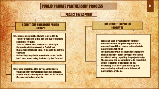 9PUBLIC PRIVATE PARTNERSHIP PROCESS PROJECT DEVELOPMENT CONDITIONS PRECEDENT PERIOD (90 DAYS) CONSTRUCTION PERIOD (90 DAYS...