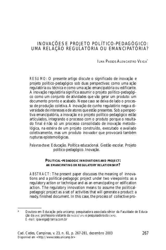 267Cad. Cedes, Campinas, v. 23, n. 61, p. 267-281, dezembro 2003 Disponível em <http://www.cedes.unicamp.br> Ilma Passos A...