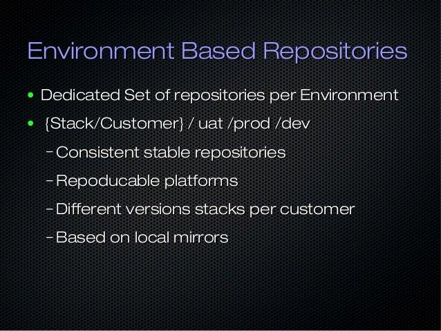 Environment Based RepositoriesEnvironment Based Repositories ● Dedicated Set of repositories per EnvironmentDedicated Set ...