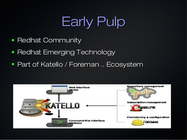 Early PulpEarly Pulp ● Redhat CommunityRedhat Community ● Redhat Emerging TechnologyRedhat Emerging Technology ● Part of K...