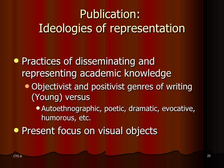 Publication:  Ideologies of representation <ul><li>Practices of disseminating and representing academic knowledge </li></u...