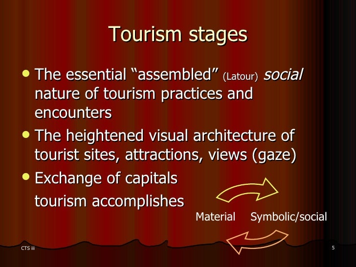 """Tourism stages <ul><li>The essential """"assembled""""  (Latour)   social  nature of tourism practices and encounters </li></ul>..."""